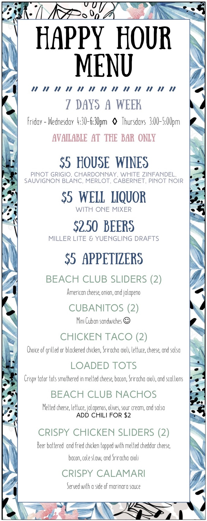 2019 Happy Hour Menu