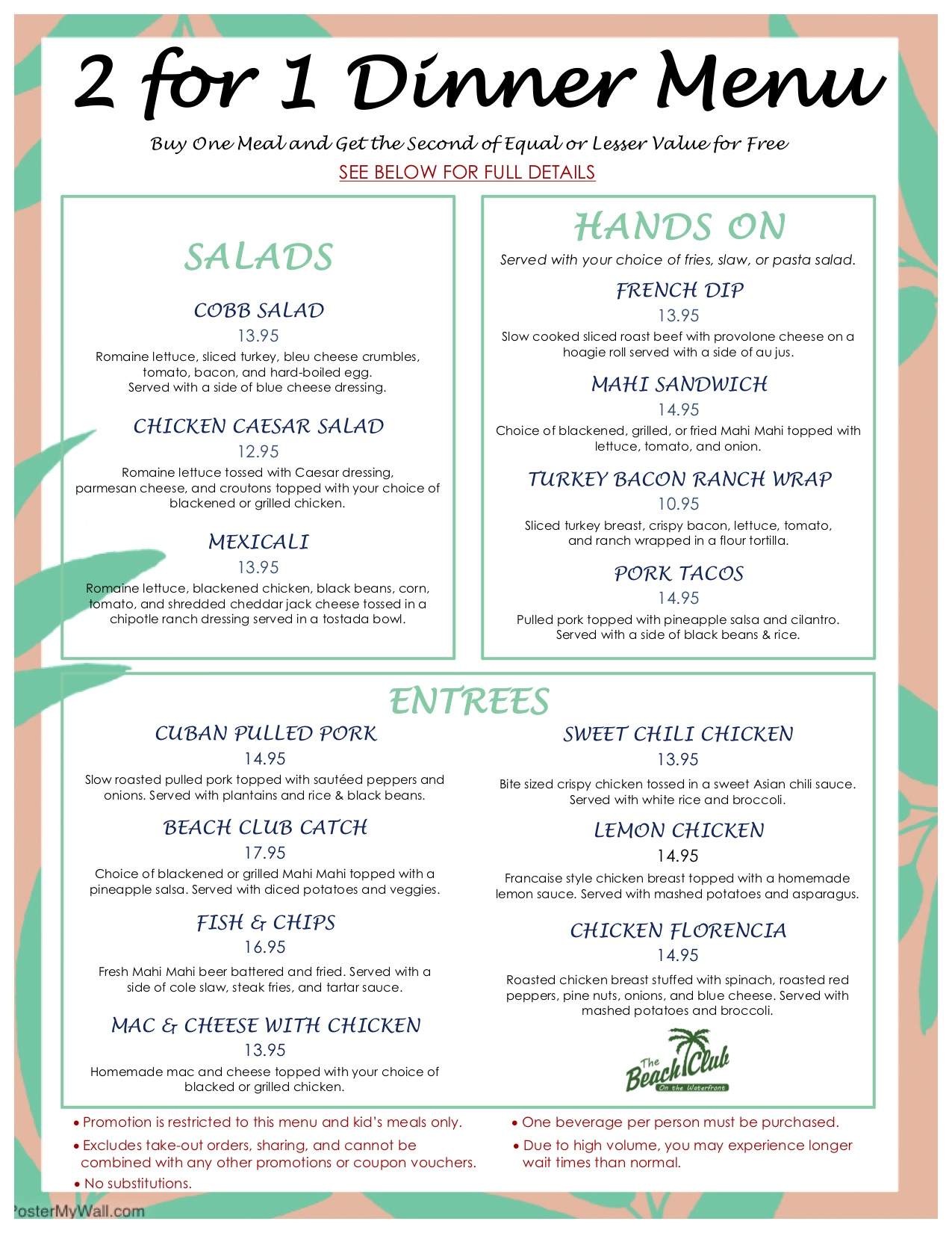 2 for 1 Menu March 2018